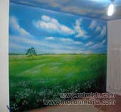 天津室内壁画风景墙绘草园墙体彩绘室内墙面设计装修效果图->