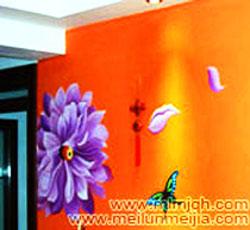 天津室内墙绘桔黄乳胶漆花卉墙体彩绘电视背景墙彩绘效果图->