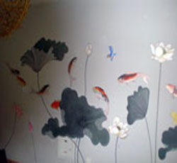 水墨荷花墙绘彩色荷花墙体彩绘发财鱼手绘墙六条大鲤鱼代表六六大顺墙体彩绘电视背景墙沙发背景墙室内客厅->