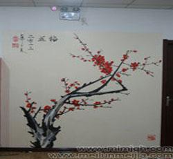 梅花墙体彩绘_墙体彩绘_墙体彩绘图片_墙体彩绘材料_高清墙绘梅花->