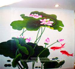 美容院荷花金鱼墙体彩绘天津手绘墙墙绘天津墙体彩绘天津手绘墙画墙绘素材墙画价格室内墙面装饰->