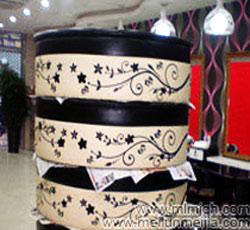 天津理发美发沙发皮革彩绘沙发皮革靠垫沙发背景墙彩绘->
