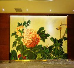 天津牡丹壁画手绘墙公司花卉类手绘墙价格墙绘报价大酒店墙体彩绘装饰墙画->