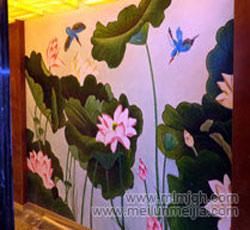 天津荷花壁画酒店手绘墙墙画装饰墙绘墙面设计->