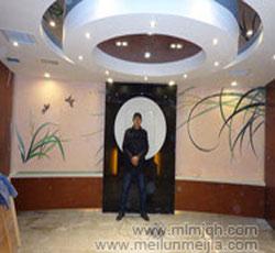 天津兰花墙绘公司大酒店墙面壁画价格手绘墙墙体彩绘->