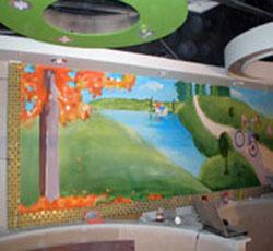 天津我和你火锅墙绘价格风景墙体彩绘浪漫类墙画火锅店铺装修墙面设计公司报价->