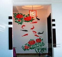 天津室内过道墙体彩绘咕噜鱼手绘墙画玄关墙绘墙面彩绘->