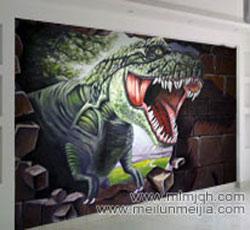 三维立体画恐龙时代室内电视背景墙墙绘影视墙墙体彩绘->