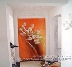 天津过道玄关墙体彩绘百合花油画手绘墙家装墙面彩绘走廊手绘墙->