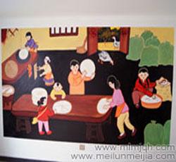 天津农家乐墙绘食堂手绘墙画大锅饭墙体彩绘红色革命喷绘墙画文化墙->