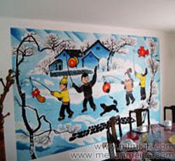 酒店餐厅会所农家乐墙体彩绘过年了孩子玩耍墙绘素材资料放鞭炮->