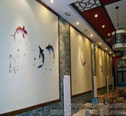 天津店铺墙体彩绘钓鱼岛就是中国的爱国手绘墙宣传墙绘酒店室内大厅墙面主题装饰手绘墙画->
