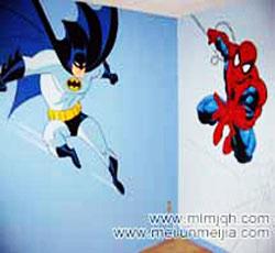 天津儿童房手绘墙蝙蝠侠墙绘蜘蛛侠墙体彩画男孩房间墙面装饰卡通彩绘卧室墙体彩绘室内家装墙面彩绘->