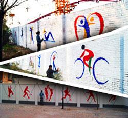 天津大港六中围墙彩绘学校操场墙绘运动手绘墙体操文化墙工程校园文化墙 围墙彩绘 操场围墙彩绘 学校文化->