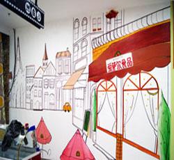 天津东丽区恒星广场爱萨尔食品墙面彩绘商场墙绘店铺墙体彩绘塘沽滨海新区手绘墙壁画情侣浪漫爱情彩绘温馨手->