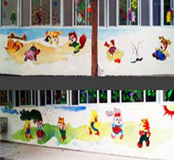 天津空港华明镇幼儿园外墙墙围墙体彩绘丙烯颜料 北京幼儿园墙体彩绘公司-幼儿园室外墙绘-幼儿园室内装饰->