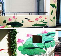 天津阳台墙体彩绘荷花9鱼图墙绘电视背景墙手绘墙画影视墙设计彩绘隐形门墙画设计竹子手绘墙中国风墙体彩绘->