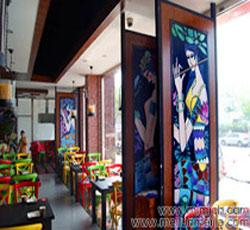 天津餐厅墙绘河西区阿瓦山寨墙体彩绘民族风情手绘墙插画少数民族彩绘壁画->