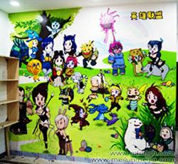 天津大港区英雄联盟网吧墙体彩绘网吧墙画,网吧手绘,网吧墙绘,网吧彩绘,网吧壁画,网吧手绘墙,网吧墙壁->