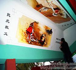 天津墙体彩绘渤海石油新村长廊墙绘彩绘工程报价表长廊的彩绘艺术文化墙二十四孝墙绘教育手绘墙画中国古代人->