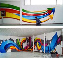 天津墙体彩绘网吧手绘墙箭头墙绘涂鸦大霸气的手绘墙画几何图案壁画创意时尚前卫墙体彩绘装饰墙面网伽墙体修->
