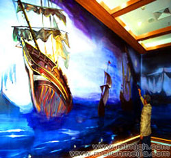 天津商场墙体彩绘东丽恒星广场墙绘大厦主题手绘墙画商铺墙画时尚前卫加勒比海盗主题墙绘震撼3D立体画酒店->