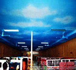 北京朝阳区网吧墙绘报价蓝天吊顶彩绘白云顶棚墙体彩绘公司网咖手绘墙价格->
