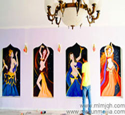 天津墙面彩绘滨海新区塘沽金菲瑜伽瑜伽公司墙体彩绘,肚皮舞手绘墙,爵士墙画,钢管舞,墙绘人物->