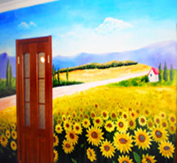 天津碧水庄园家庭墙绘向日葵彩绘家居绘画风景手绘墙田园风光彩绘墙绘公司装修设计彩绘墙价格手工绘画报价美->