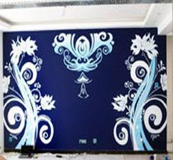 天津家装客厅墙面墙体彩绘对称彩绘背景墙简约欧式藤蔓墙绘花纹手绘墙玄关过道竹子墙绘->