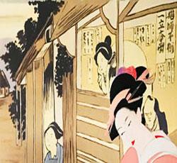 墙体彩绘浮世绘般若墙绘_浮世绘国风墙画_浮世绘风格中国壁画_餐厅会所墙绘_天津墙体彩绘_天津墙绘价格->
