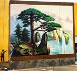 天津十方集团墙体彩绘,形象背景墙墙画,墙体彩绘价格,油画彩绘,迎客松中国画彩绘/国画墙绘->