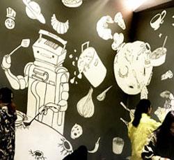 天津墙体彩绘生态城墙绘机器人餐厅手绘墙画,室内墙面绘画,宇宙墙绘元素彩绘,科技手绘画,彩绘儿童科幻画->