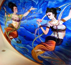 天津南开区敦煌壁画,飞天仙女墙绘,吊顶彩绘,宗教墙画,天津手绘公司,艺术创意设计彩绘,天津墙体绘画->
