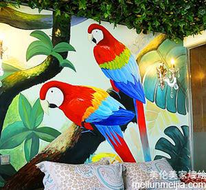 天津墙体彩绘之鹦鹉墙绘漂亮多彩的羽毛吸引尔的眼睛。Parrot Wall Painting-新闻中心->