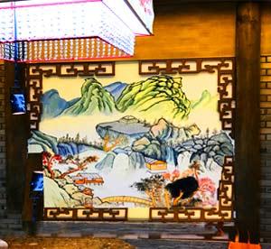天津河西区火锅店墙体彩绘,小龙坎老火锅墙绘,中式餐厅墙画,墙绘价格,中国风国画风格图案手绘墙报价公司->