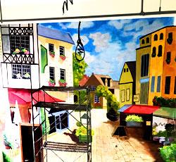 天津卢浮广场咖啡厅墙绘,咖啡墙体彩绘元素图片素材,商铺墙绘,西餐厅手绘墙画,披萨店墙体彩绘,饭店手绘->