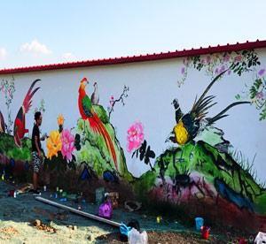 天津武清区南湖鸟岛墙体彩绘公司,天津墙体彩绘公司哪家好,天津墙绘公司的彩绘工程墙画图->