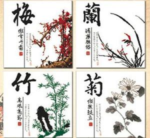 天津红桥区保险公司墙体彩绘,以梅兰竹菊为主题将办公室文化墙以墙面彩绘方式展示出来,达到安静,唯美效果->