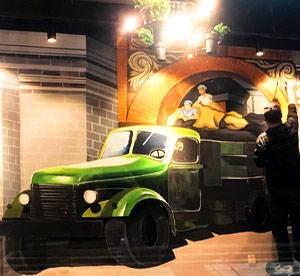 天津火锅店墙绘,3D酒店大堂手绘墙大货车手绘墙,宇宙飞船立体墙画饭店包房墙壁画――家的味道火锅墙体彩->