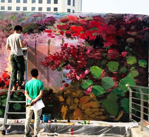 天津墙绘之楼房房顶天台花园彩绘油画墙绘,简直就是个植物园!,五彩缤纷。->