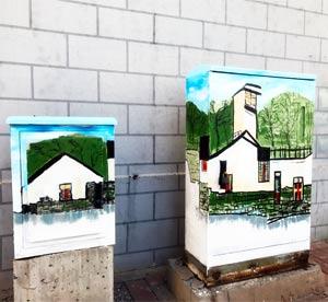 天津墙绘公司手绘室外电表箱,配电箱,配电房彩绘改善市容,宣传环保,党政,创城城建等主题政策,有好作用->
