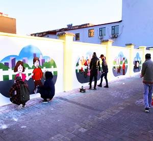 天津墙绘设计公司为天津街道社区文明宣传墙绘城乡文化墙彩绘包括市政亮化彩绘工程,党政宣传文化墙建设添彩->