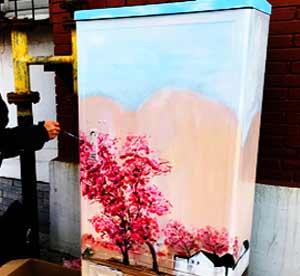 天津墙绘公司滨海新区配电箱彩绘作品一:配电箱涂鸦 电表箱手绘 美化电箱,用墙画艺术创造美丽城市与乡村->
