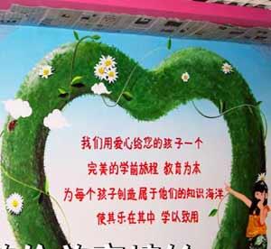 天津幼儿园的园长让天津墙体彩绘公司将80后小时候所看到的动画片绘于墙面上的彩绘图画给孩子们积极的影响->